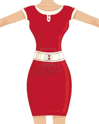 10676126-an-illustration-of-a-woman-in-a-red-dress-with-an-hour-glass-figure-on-a-white-background