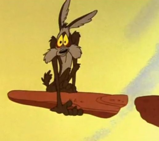 Wile E Coyote defies gravity